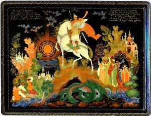 Russian Lacquer Art by Palekh miniaturist Dmitry Bonokin depicting the tale of Dobryniya Nikitich (Russian Bogatyr)